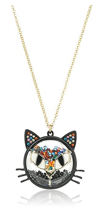 """Betsey Johnson """"Skeletons After Dark"""" Shaky Bead Faceted Stone Cat Long Pendant Necklace"""