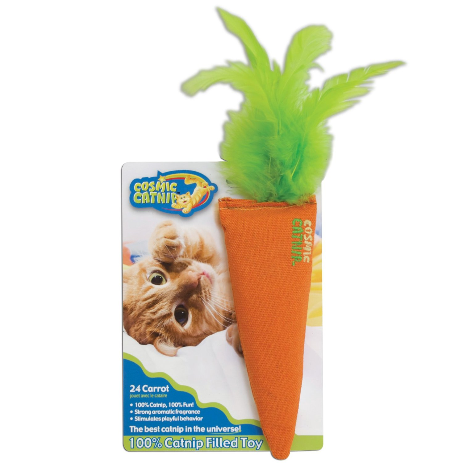 100-percent filled with catnip Encourages playful behavior Filled with North American grown catnip Strong aromatic fragrance Carrot shaped toy