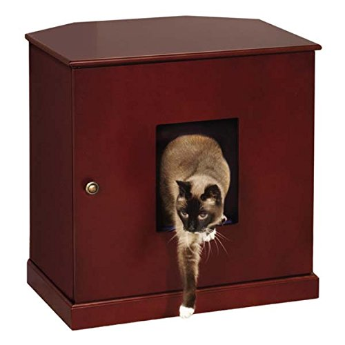 Corner End Table Cat Litter Cabinet with Concealed Drawer, Mahogany Finish