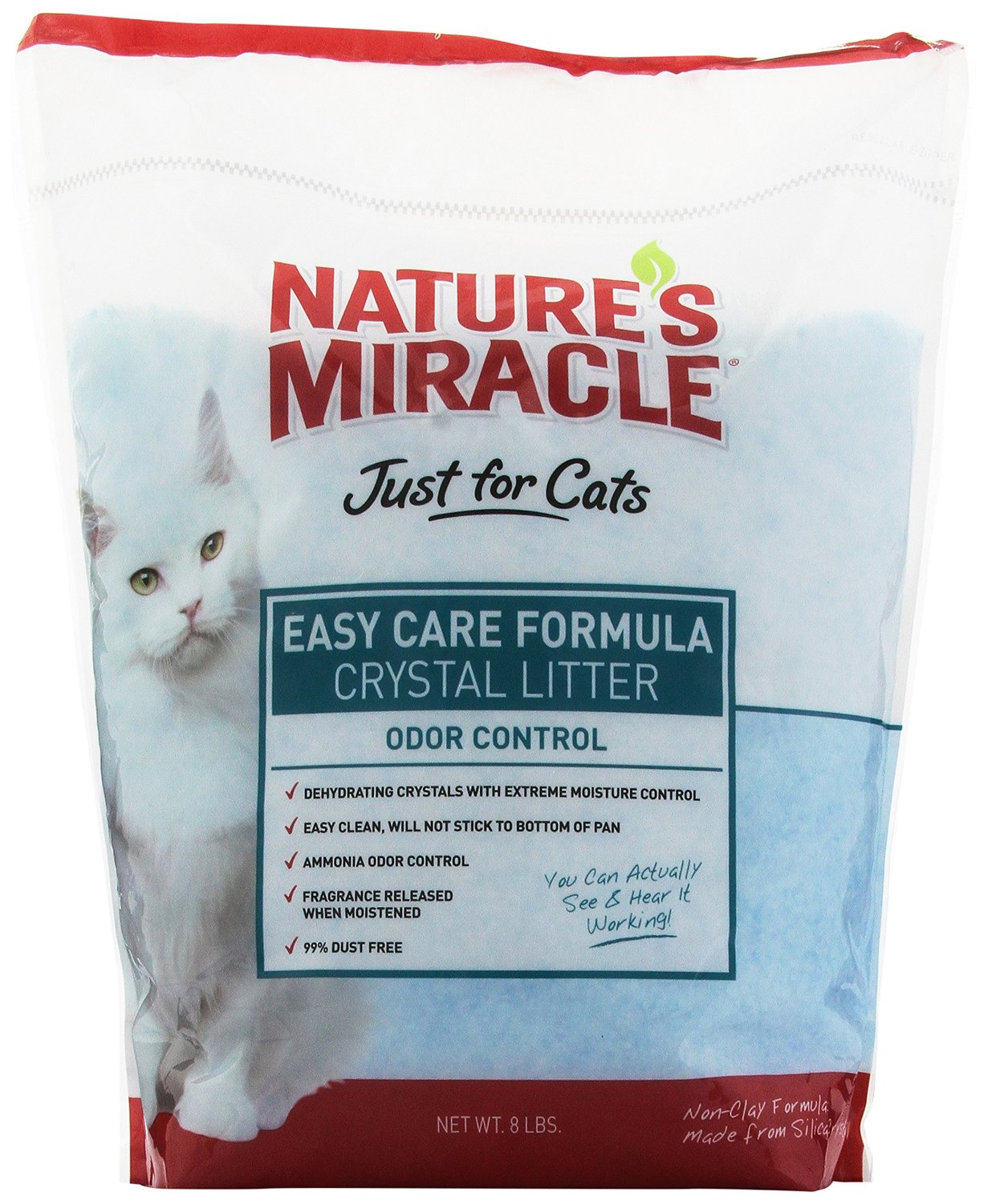 Nature's Miracle Just for Cats Easy Care Crystal Litter, 8-Pound