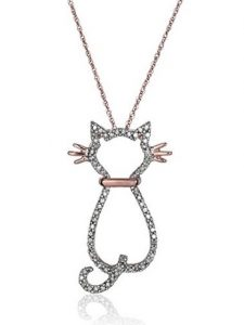 14k Rose Gold and Diamond Cat Pendant Necklace