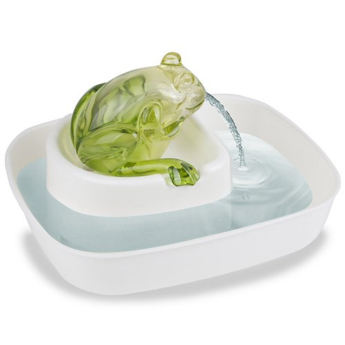 Cats Rule Frog Watering Hole Water Fountain, White and Green