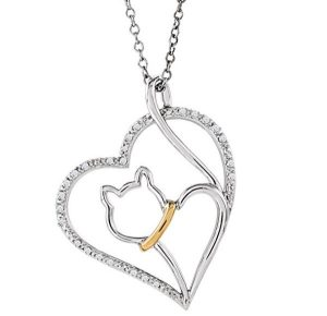 "Cat Lover's Diamond Heart Necklace, Sterling Silver and 10k Yellow Gold Necklace, 18"" with Charm Pet Collar Tag"