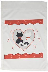 Cute Red Hearts Valentine Cat Couple Garden Flag