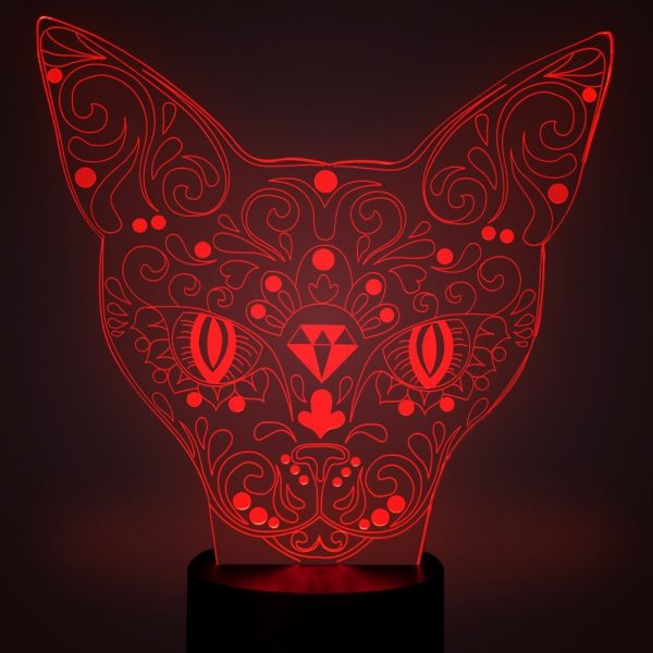 Cat Head 3D Optical Illusions LED Lamps, YKL World Amazing 7 Changing Colors