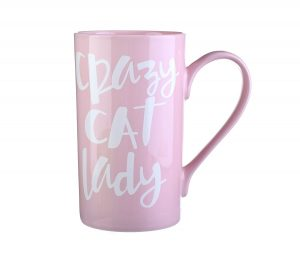Cat Lover Gift - Crazy Cat Lady 20 oz Coffee Mug - Light Pink