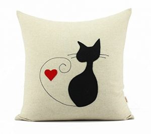 Black Cat Pillow Cover Valentines Day Gift