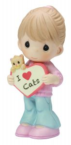 """Precious Moments, Valentines Gifts, """"I Love Cats"""" Bisque Porcelain Figurine"""