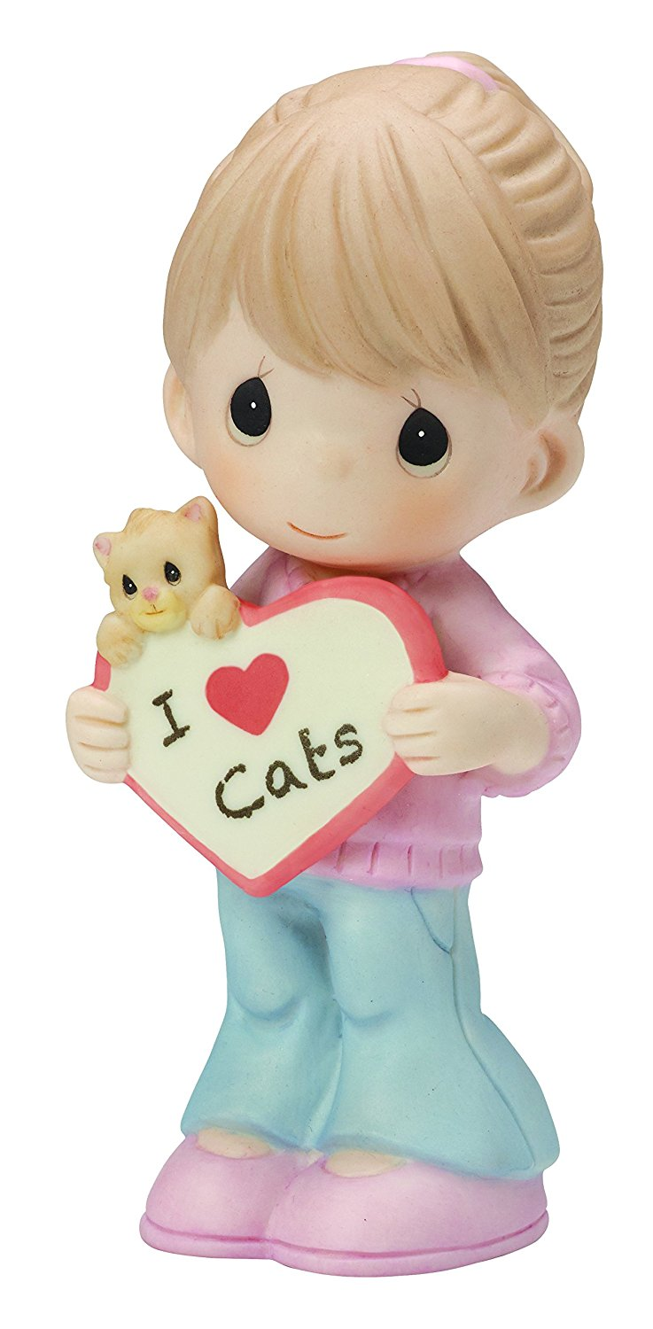 "Precious Moments, Valentines Gifts, ""I Love Cats"" Bisque Porcelain Figurine"