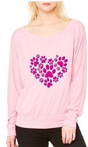 Animal Lover Cat Dog Long-Sleeve Paw Heart Flowy Shirt