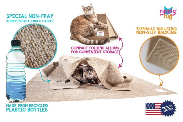 The Ripple Rug - Thermal Cat Activity Play Mat - Made in USA - Fun Interactive Play - Training - Scratching - Multi Use Habitat Bed Mat