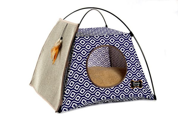Trendy Pet Cat Tent with Attached Cat Scratcher