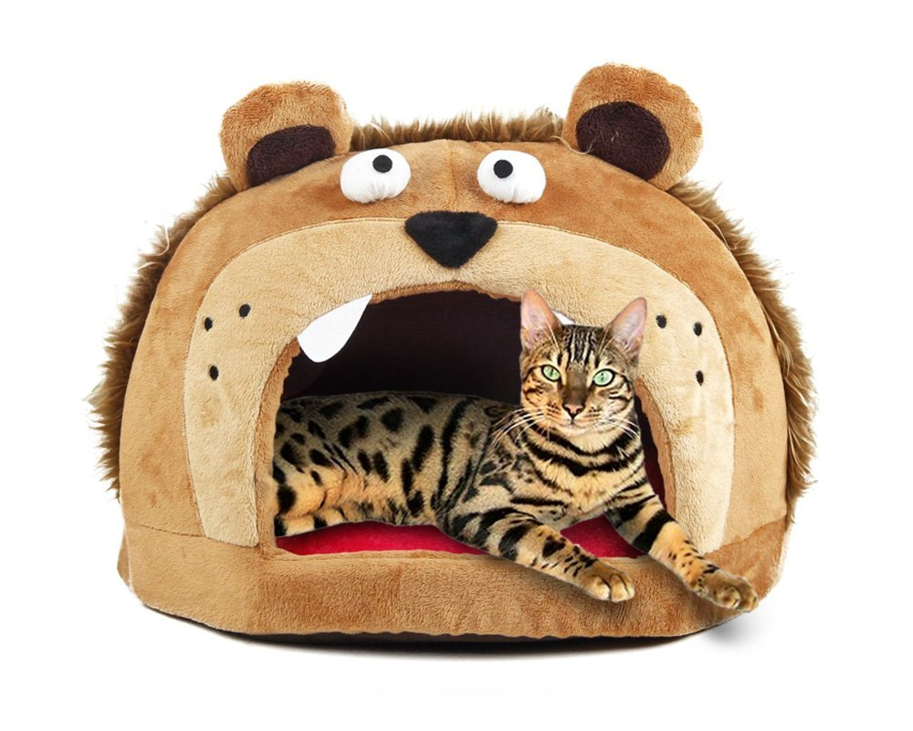Petories Lion Head Design Self Warming Pet House and Bed with Removable Cushion for Small Cats