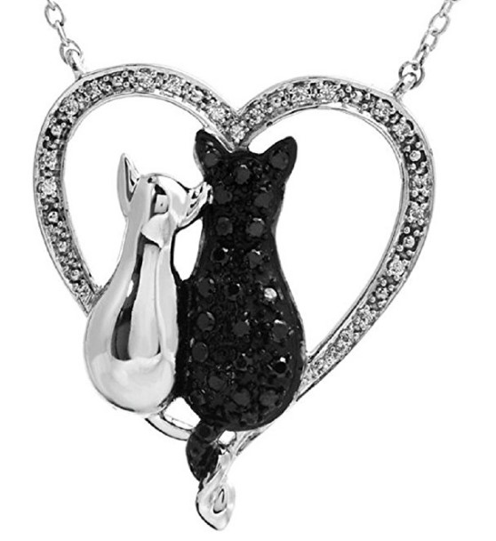 "Roxx Fine Jewelry Tender Voices ASPCA .20 Ct. ""Cat Friends"" Black & White Diamond 18"" Necklace"