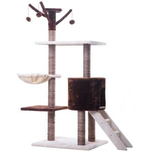 Merax CARB-certified Cat Activity Tree Condo Furniture with Scratching Post