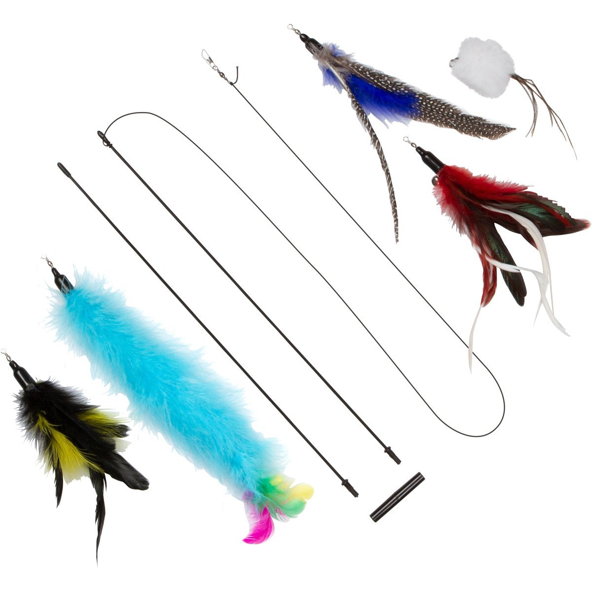 The Giddy Kitty 5 Pack Assorted Cat Feather Toy with Small Bells and 33 Inch Wand