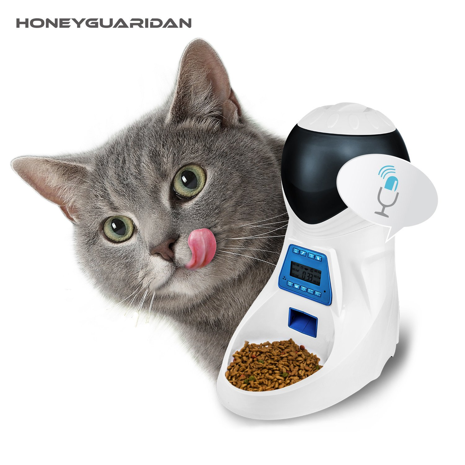 HoneyGuaridan A25 Automatic Pet Feeder with Voice Reminding and Timer Programmable, Electronic Food Dispenser 6-Meal for Dogs (Large, Medium and Small) and Cats