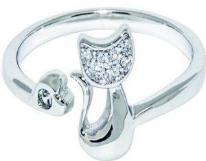 Wristchie Womens Fashion Jewelry 925 Sterling Silver Adjustable Ring Cute Cat Kitty