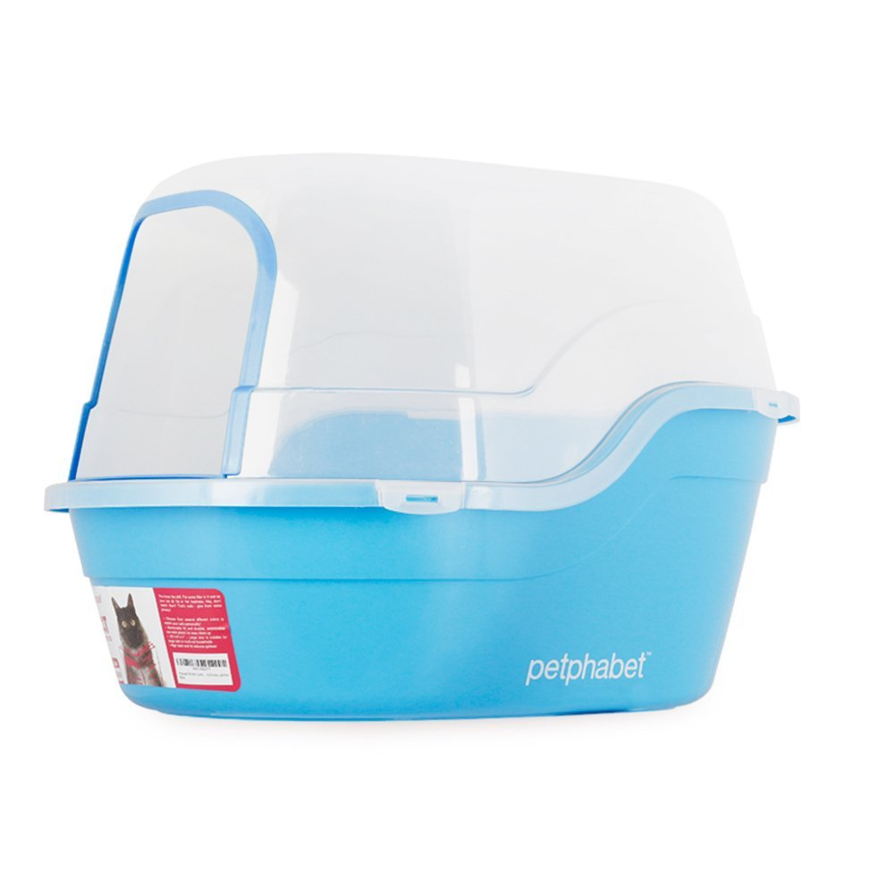 Petphabet Jumbo Hooded Cat Litter Box Holds Up to Two Small Cats Simultaneously